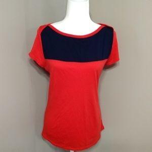 Merona Red & Blue Colorblock Zipper Back Top XL